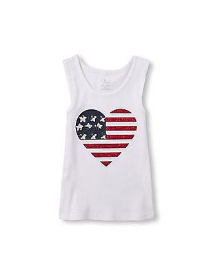 The Children's Place Girls Sleeveless Embellished Patriotic Tank Top