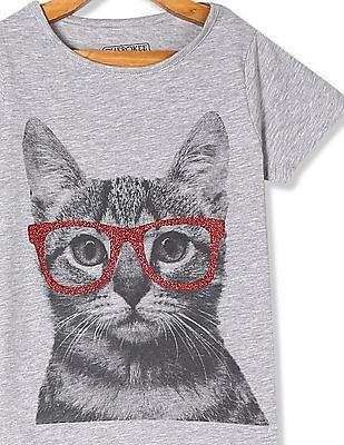 Cherokee Grey Girls Round Neck Graphic T-Shirt