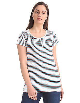 SUGR Elasticized Hem Striped T-Shirt