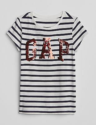 GAP Girls Blue Flippy Sequin Logo T-Shirt