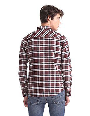Aeropostale Red Button Down Collar Check Shirt