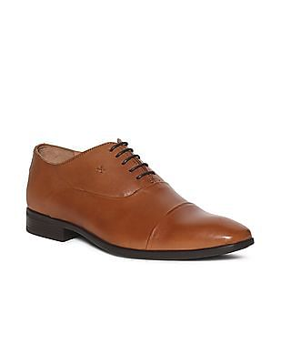 Arrow Brown Cap Toe Leather Oxford Shoes