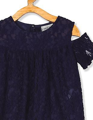 Cherokee Girls Cold Shoulder Lace Top