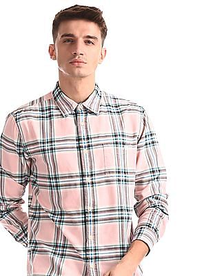 Aeropostale Pink Check Oxford Shirt