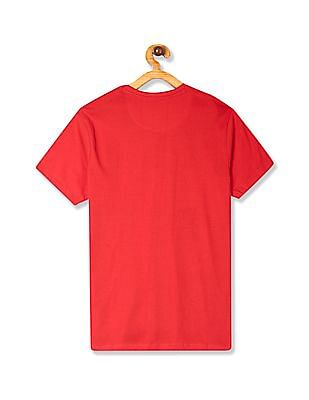 FM Boys Red Boys Striped Crew Neck T-Shirt