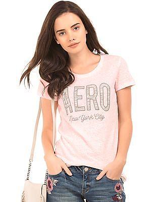 Aeropostale Appliqued Front Regular Fit T-Shirt