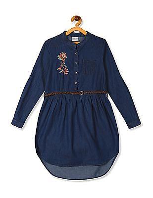 Cherokee Blue Girls Belted Chambray Shirt Dress