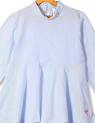 U.S. Polo Assn. Kids Girls Mock Neck Striped Top
