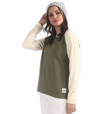 Flying Machine Women Green Crew Neck Colour Block Sweatshirt