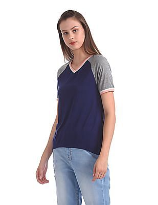Flying Machine Women V-Neck Raglan Sleeve T-Shirt