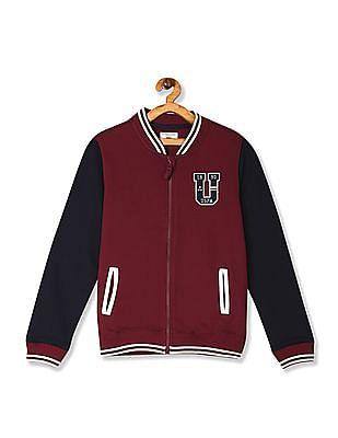 U.S. Polo Assn. Kids Red Boys Colour Block Zip Up Sweatshirt