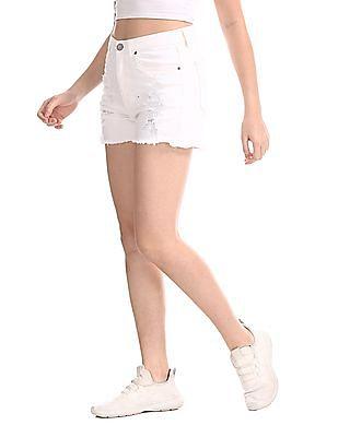 Aeropostale White Distressed Cheeky Denim Shorts