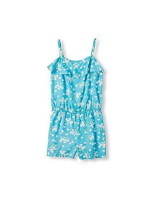 The Children's Place Girls Blue Sleeveless Floral Print Ruffle Cropped Romper