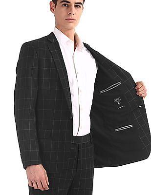 Arrow Newyork Black Single Breasted Check Suit