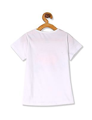 Cherokee White Girls Round Neck Printed T-Shirt