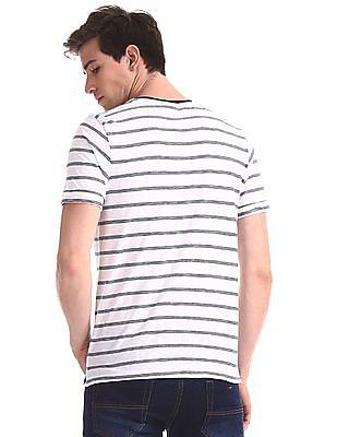 Cherokee White Crew Neck Striped T-Shirt