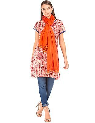 Karigari Tasselled Trim Cotton Dupatta