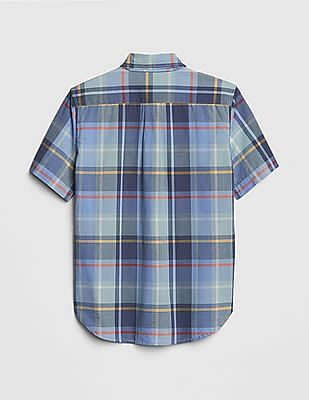 GAP Boys Poplin Plaid Short Sleeve Shirt