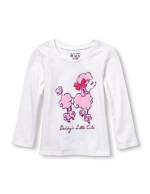 The Children's Place Toddler Girl Long Sleeve Glitter 'Daddy's Little Cutie' Poodle Graphic Tee