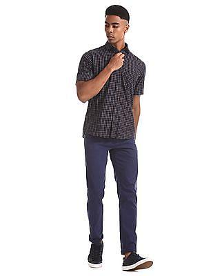 Arrow Sports Blue Patch Pocket Check Shirt
