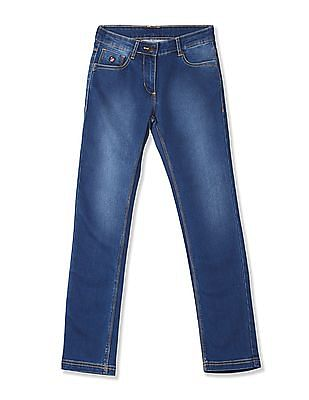 U.S. Polo Assn. Kids Girls Stone Wash Mid Rise Jeans