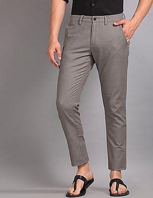 True Blue Grey Slim Fit Patterned Weave Trousers