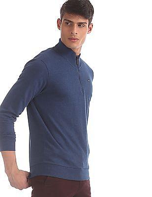 Arrow Sports Blue High Neck Half Zip Sweatshirt