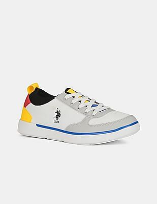 U.S. Polo Assn. Men Off-White And Grey Low Top Colour Block Sneakers