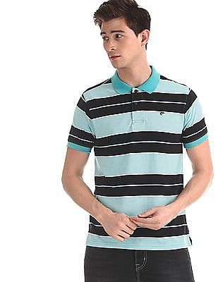 Ruggers Green Regular Fit Striped Polo Shirt