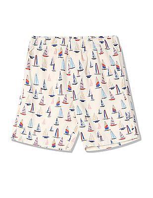 FM Boys Boys Elasticized Waist Boat Print Shorts