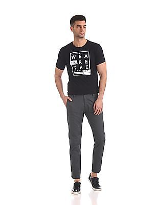 Flying Machine Super Slim Fit Patterned Weave Trousers