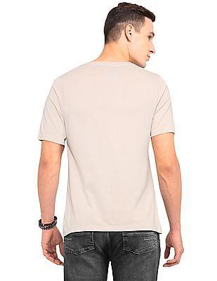 Colt Beige Round Neck Graphic T-Shirt