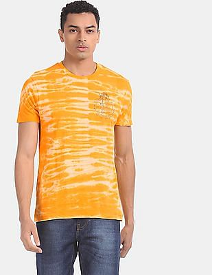 Aeropostale Men Yellow Short Sleeve Tie And Dye T-Shirt