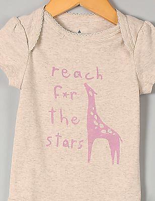 GAP Baby White Giraffe Picot Trim Bodysuit