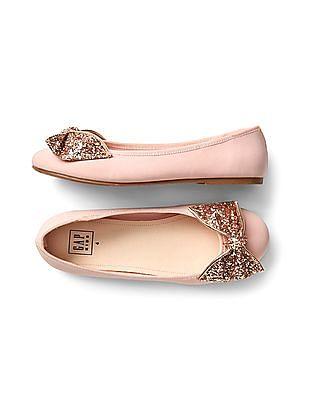 GAP Girls Pink Glitter Bow Ballet Flats