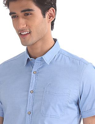 Flying Machine Blue Solid Short Sleeve Shirt
