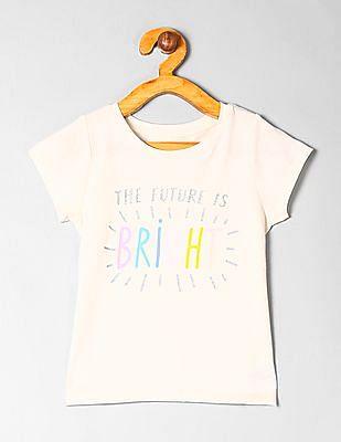 GAP Toddler Girl White Graphic Short Sleeve T-Shirt