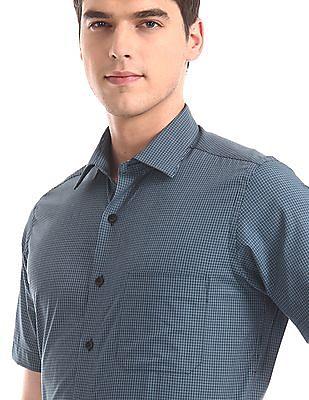 Arrow Blue Patch Pocket Check Shirt