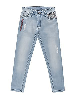 Cherokee Girls Embroidered Slim Fit Jeans