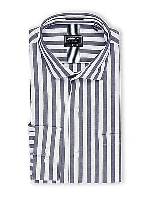 Arrow Newyork Navy And White Vertical Stripe French Placket Shirt