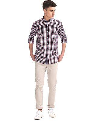 Nautica Long Sleeve Small Plaid Shirt