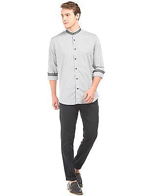 Arvind Mandarin Collar Dot Print Shirt
