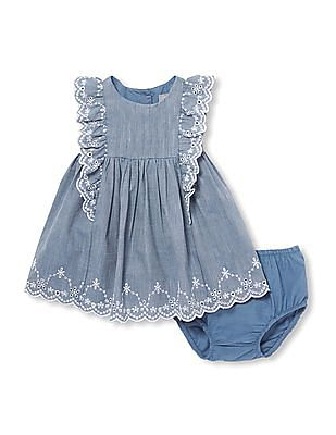 The Children's Place Baby Short Flutter Sleeves Chambray Dress And Bloomers Set