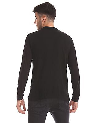 Flying Machine Long Sleeve Panelled Polo Shirt