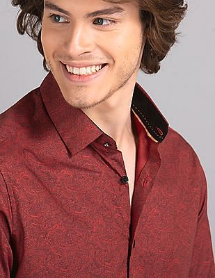 True Blue Red Printed Cotton Tencel Shirt