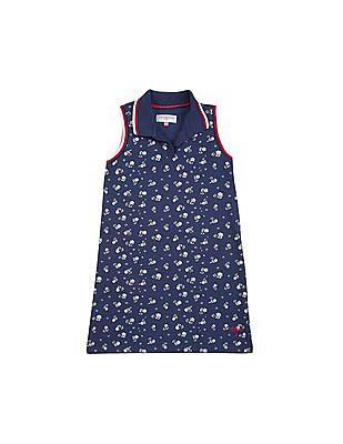 U.S. Polo Assn. Kids Girls Floral Print Pique Polo Dress