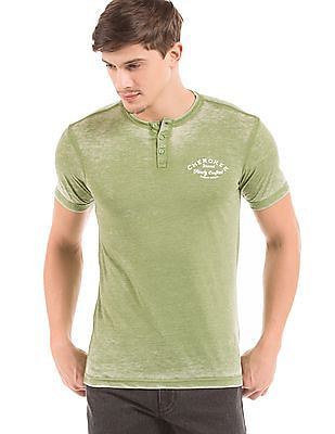 Cherokee Slim Fit Washed Henley T-Shirt