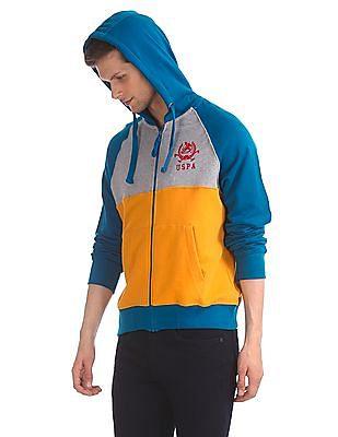 U.S. Polo Assn. Multi Colour Cut And Sew Panel Zip Up Sweatshirt