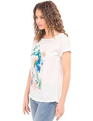 Cherokee Round Neck Printed Top