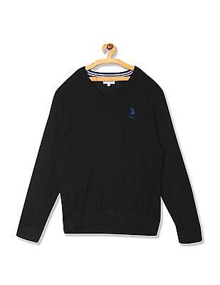 U.S. Polo Assn. Wool Blend V-Neck Sweater